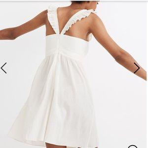 NWT MADEWELL Ruffle-Strap Empire Dress cream mini